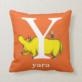 Dr. Seuss's ABC: Letter Y - White | Add Your Name Cushion