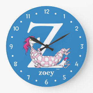 Dr. Seuss's ABC: Letter Z - White | Add Your Name Large Clock