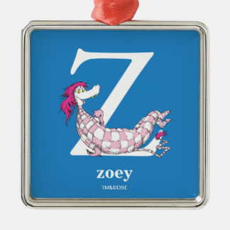Dr. Seuss's ABC: Letter Z - White | Add Your Name Metal Ornament