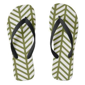 Drab Green Chevron Weave Thongs
