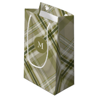 Drab olive and beige plaid men's gifting small gift bag