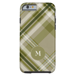 drab olive and beige plaid w monogram tough iPhone 6 case