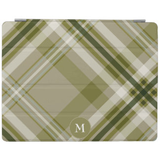 drab olive on beige diagonal plaid with monogram iPad cover