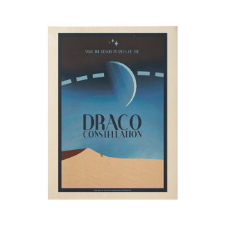 Draco Constellation Art Deco Space Travel Poster Wood Poster