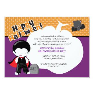 Dracula and Bat Halloween Birthday Card