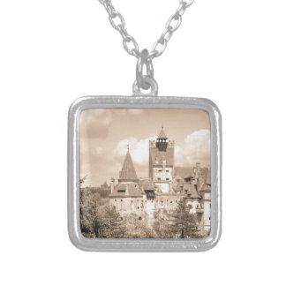 Dracula Castle in Transylvania, Romania Silver Plated Necklace
