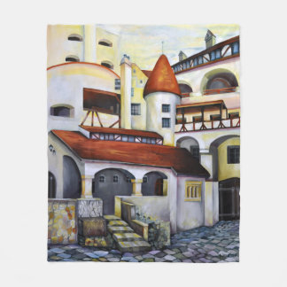 Dracula Castle - the interior courtyard Fleece Blanket