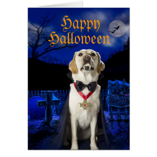 Dracula Dog Halloween greeting card