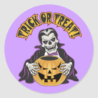 Dracula Skull Round Sticker