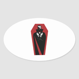 Draculas Coffin Oval Sticker