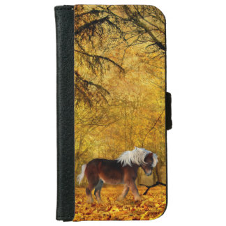 Draft horse in autumn iPhone 6 wallet case