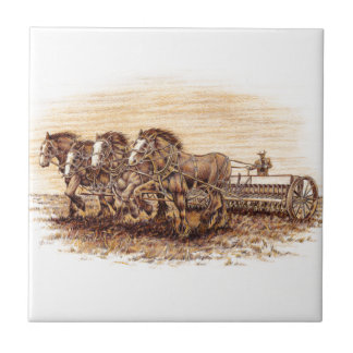 Draft Horses Ceramic Tile