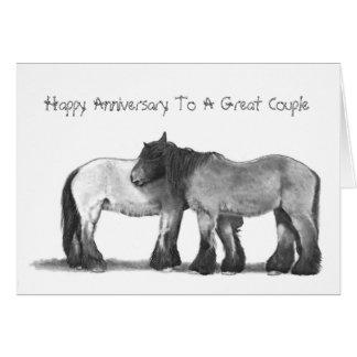 Draft Horses in Pencil: Anniversary Card