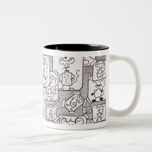 Drafts of inked mice coffee mug