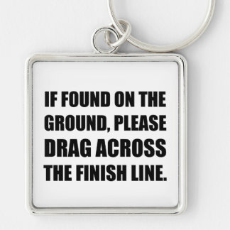 Drag Across Finish Line Silver-Colored Square Key Ring