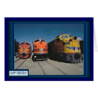 Drag race for trains greeting card