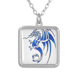 Dragissous V1 - blue dragon Silver Plated Necklace
