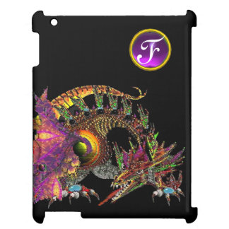 DRAGO,FANTASY DRAGON,PURPLE GEMSTONE MONOGRAM iPad COVER