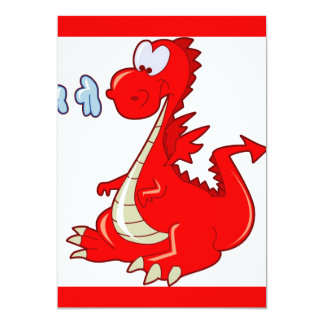 dragon302  RED CARTOON DRAGON CUTE HAPPY KIDS GRAP 13 Cm X 18 Cm Invitation Card