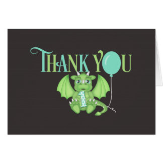 Dragon 1st Birthday Folded Thank You Card