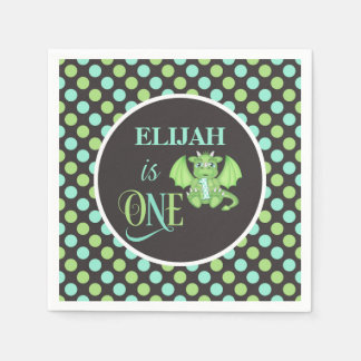 Dragon 1st Birthday Napkins - Personalized Disposable Napkin
