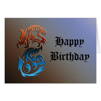 Dragon 2 Yin Yang blue bronze Card