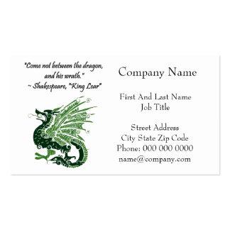Dragon and His Wrath Shakespeare King Lear Cartoon Business Card