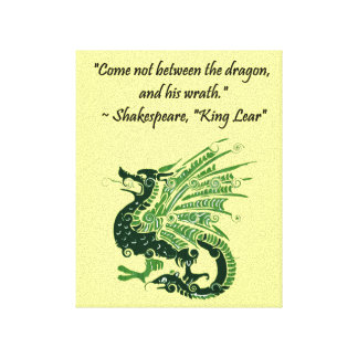 Dragon and His Wrath Shakespeare King Lear Cartoon Gallery Wrapped Canvas