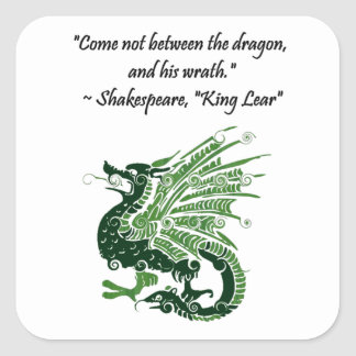 Dragon and His Wrath Shakespeare King Lear Cartoon Square Sticker