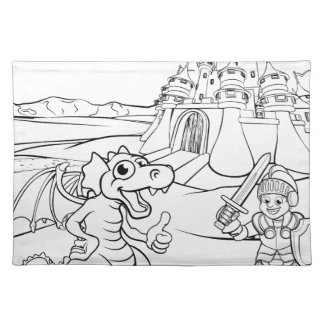 Dragon and Knight Castle Cartoon Placemat