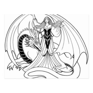 Dragon and Lady illustration Postcards
