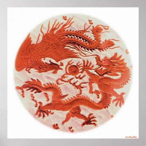 Dragon And Phoenix Print