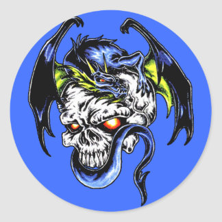 Dragon and Skull Classic Round Sticker