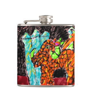 Dragon and Turquoise Hip Flask
