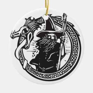 Dragon and Wizard Ceramic Ornament
