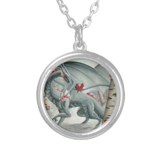 Dragon art, Fantasy art, Lady of the Forest Silver Plated Necklace