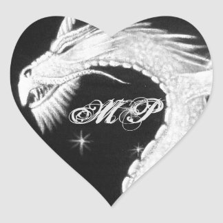 Dragon at Night Painting Heart Sticker