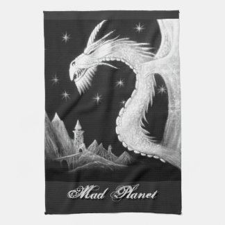 Dragon at Night Painting Tea Towel