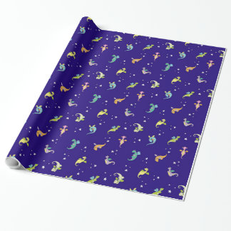 Dragon Babies at Night Wrapping Paper