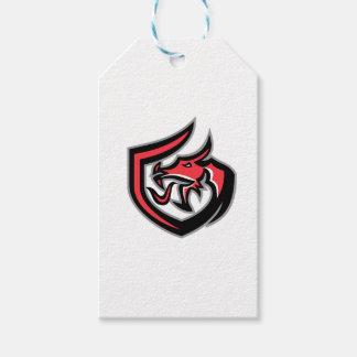 Dragon Breathing Fire Side Shield Retro Gift Tags