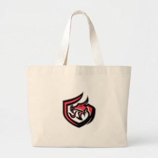 Dragon Breathing Fire Side Shield Retro Large Tote Bag