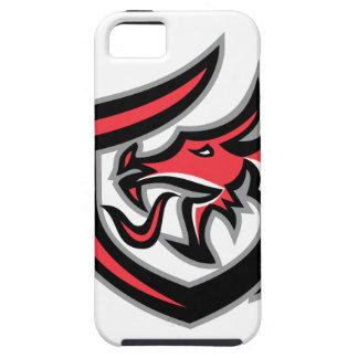 Dragon Breathing Fire Side Shield Retro Tough iPhone 5 Case