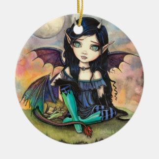 Dragon Child Cuge Big-Eye Fairy and Dragon Ceramic Ornament