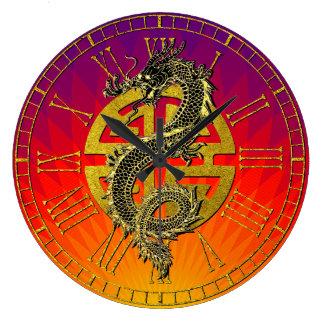 Dragon Chinese Symbol Prosperity Sunset Gradient Large Clock