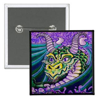 dragon close up square pin