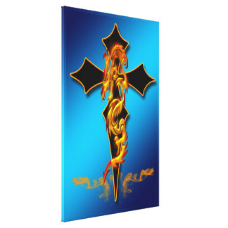 Dragon - Cross 24x36 Wrapped Canvas Stretched Canvas Print