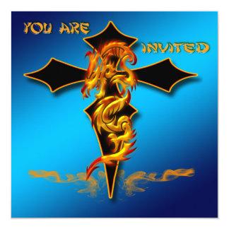 """Dragon - Cross Invitation 5.25"""" Square Invitation Card"""