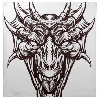 Dragon Demon Monster Head Face Napkin
