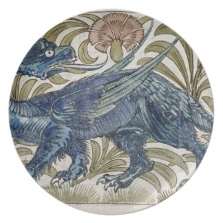 'Dragon' design for a tile (w/c on paper) Plate