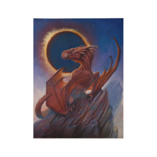 Dragon Eclipse Wood Poster